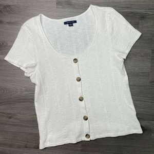 AMERICAN EAGLE | sz L Ribbed Button Front Top